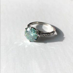 3Ct Blue-Green Moissanite Ring